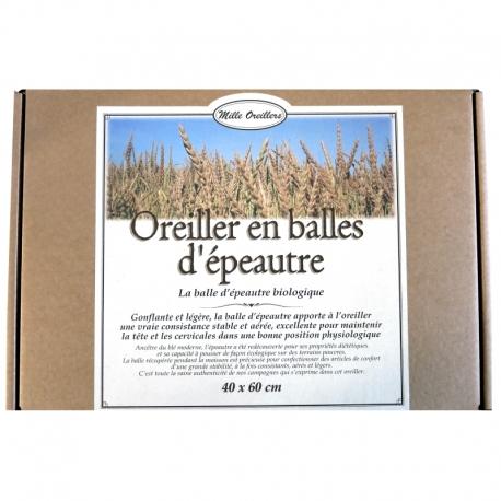 Oreiller en balles d'épeautre bio Mille Oreillers 40 x 60 cm v1