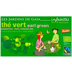 Infusettes de thé vert Earl Green Bergamote Jardins de Gaïa
