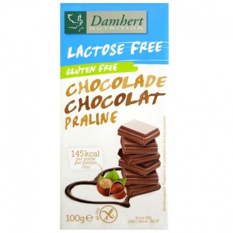 Tablette chocolat lait praliné sans gluten sans lactose Damhert 100 g v1