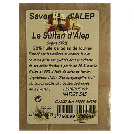 Savon d'Alep bloc Le Sultan d'Alep 20 % 200 g