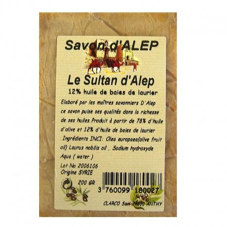Savon d'Alep bloc Le Sultan d'Alep 12 % 200 g