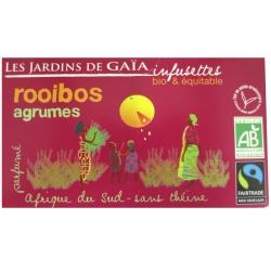 Thé rouge bio Rooibos Agrumes Jardins de Gaïa 20 infusettes