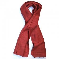 Echarpe soie et coton rouge cuivre Craft Beauty Artisanat Sel
